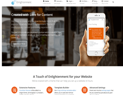 enlightment wordpress theme